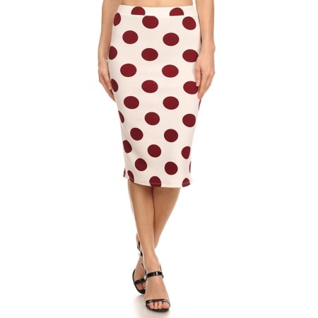 Women's Polka dot print  Knit Pencil - Navy And White Polka Dot Skirt