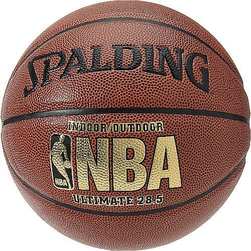 NBA ULTIMATE INTERMEDIATE 28.5-INCH INDOOR/OUTDOOR COMPOSITE BASKETBALL, Composite leather cover. Deep black channels. Allover pebbled design. By Spalding