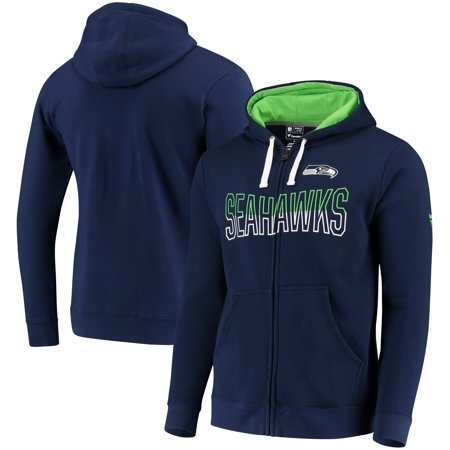 Seattle Seahawks NFL Pro Line by Fanatics Branded Iconic Fleece Full-Zip Hoodie - College Navy