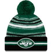 New York Jets New Era Youth 2021 NFL Sideline Sport Pom Cuffed Knit Hat - Green/Black - OSFA