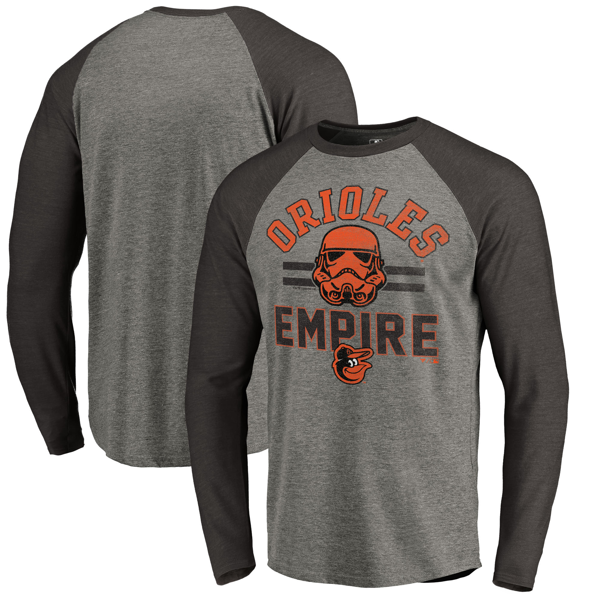 Baltimore Orioles Fanatics Branded MLB Star Wars Empire Raglan Long Sleeve T-Shirt - Heather Gray