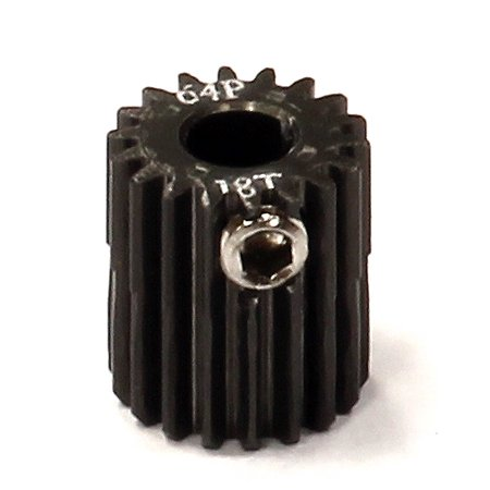 Integy RC Toy Model Hop-ups C24263 Billet Machined Hard Anodized Aluminum 64 Pitch Pinion 18 Teeth for 0.125 Shaft