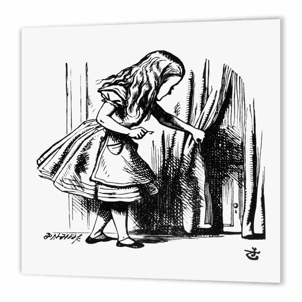 3dRose Alice in Wonderland key opening the door - John Tenniel illustration, Iron On Heat Transfer, 8 by 8-inch, For White Material