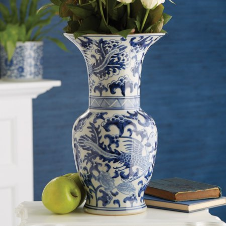 Passport Collection Blue and White Phoenix Tall Vase