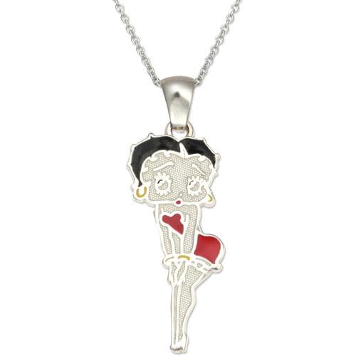 "Betty Boop Sterling Silver Pendant, 18"""