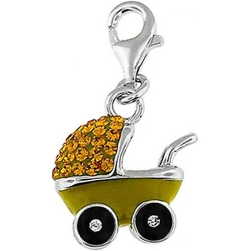 Doma Jewellery SSPE176YYellow Sterling Silver And Crystal Charm, Baby Carriage - Yellow