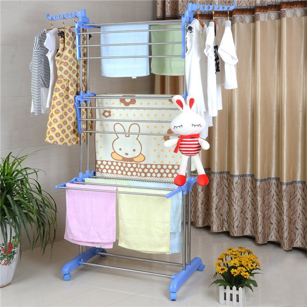 Multifunctional Folding Laundry Storage Rack Indoor Outdoor Clothes Drying Rack Garment Dryer Stand