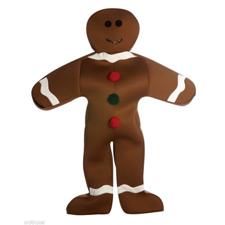 Gingerbread Man Adult Halloween Costume - One Size (Gingerbread Costumes For Adults)