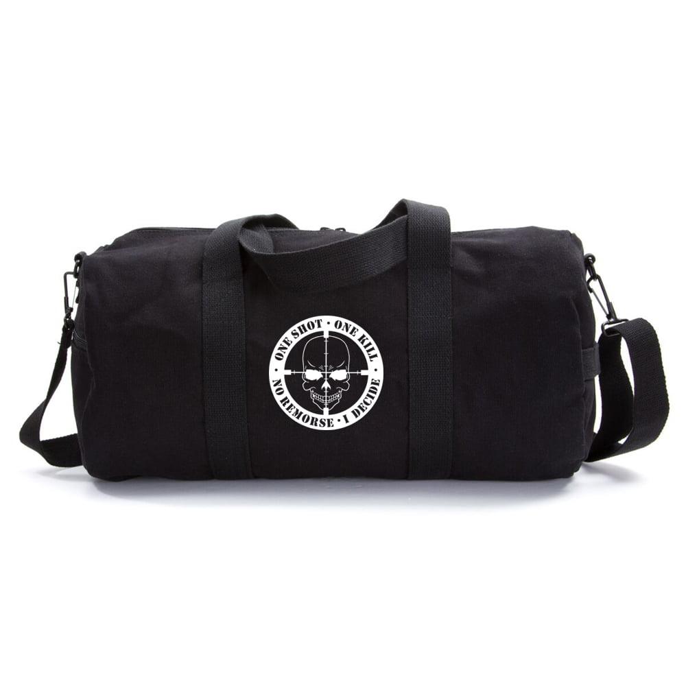 One Shot One Kill No Remorse I Decide Heavyweight Canvas Sport Travel Duffel Bag by Army Force Gear