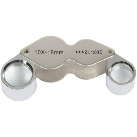 Stalwart 10x and 20x Dual Jeweler's Eye Loupe Magnifier with