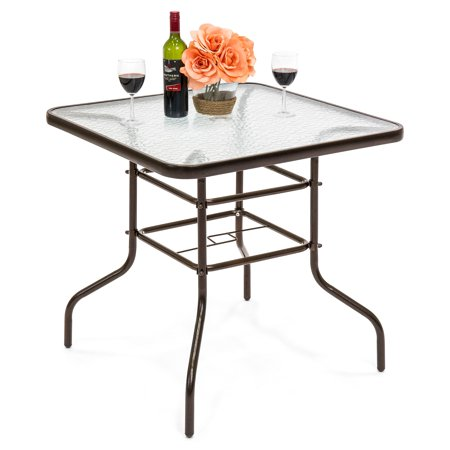 Best Choice Products 32In Square Tempered Glass Outdoor Patio Dining Bistro Table W/ Umbrella Hole, Steel