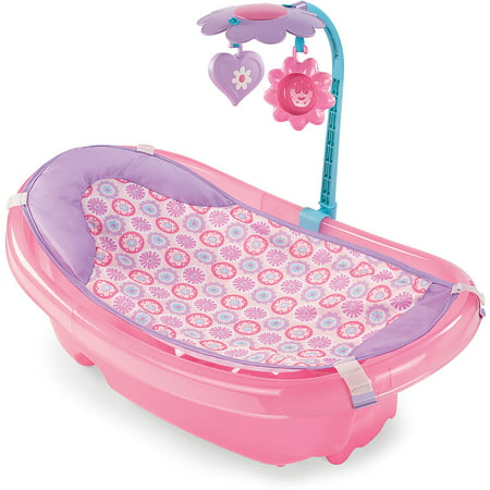 summer infant sparkle fun newborn to toddler baby tub with toy bar pink wa. Black Bedroom Furniture Sets. Home Design Ideas