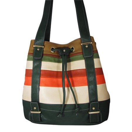 Green Junior Handbags (Junior Womens Green Multi Stripe Double Shoulder Strap Chic Handbag Purse )