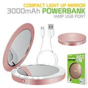 Cellet Compact Light Up Mirror Power Bank, 3000 mAh Battery, 1 Amp USB Port