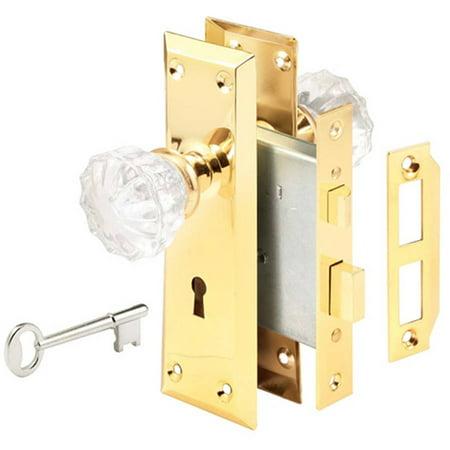 Prime Line E2311 Glass Knob and Brass Trim Mortise Caselock Assembly