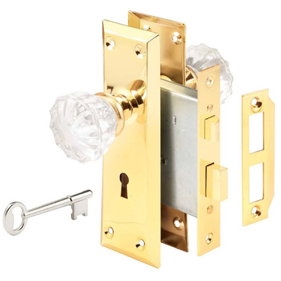 Prime Line E2311 Glass Knob and Brass Trim Mortise Caselock Assembly