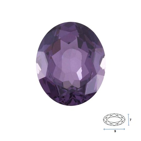 Oval Shape Imitation Amethyst Faceted Gemstone Sized 9x7