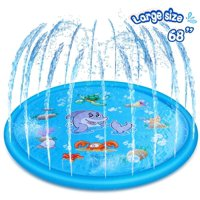 "Sprinkler Splash Mat 68"", Kids Pool, Outdoor Lawn Water Toys, Splash Pad, Wading Swimming Pool, Inflatable Splash Sprinkler Pad"