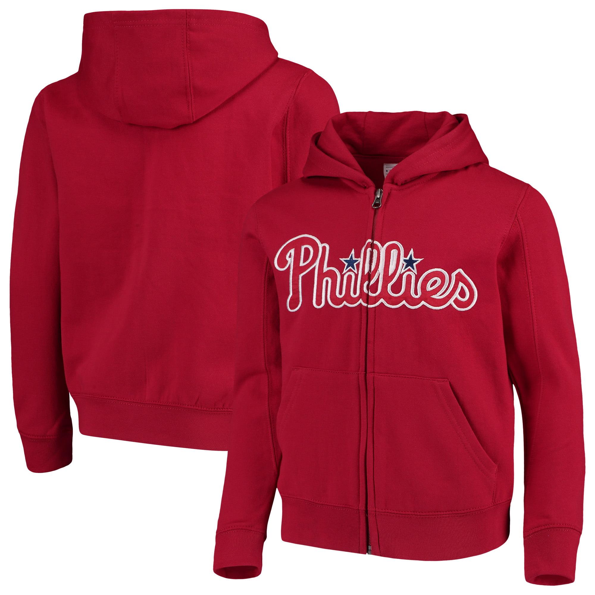 Philadelphia Phillies Youth Team Color Wordmark Full-Zip Hoodie - Red