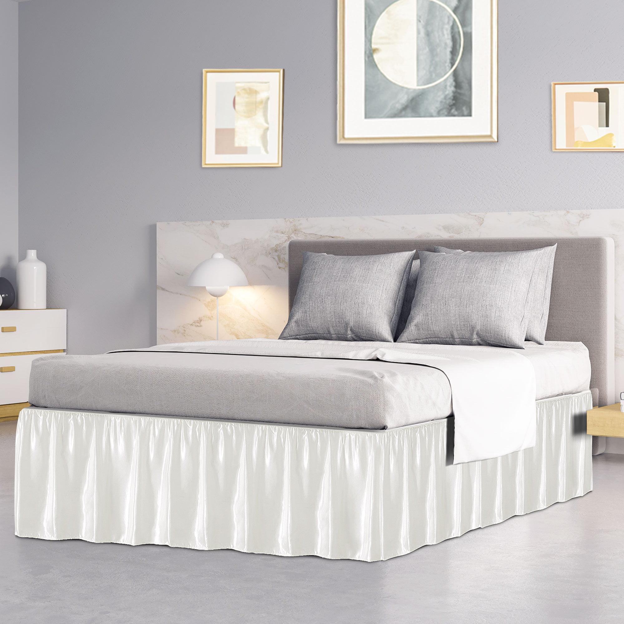 Piccocasa Bed Skirt Satin Silk 18 Drop Dust Ruffle Cream White Queen Walmart Com Walmart Com