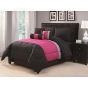 Tranquil Run Off 6-piece Comforter Set King- Black/ Pink