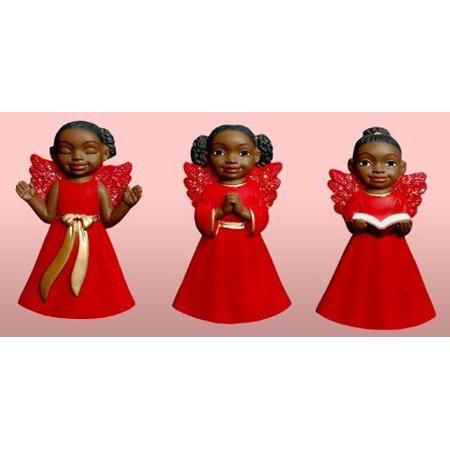 Set of 3 African American CHERUB GIRL in Red Christmas Ornaments
