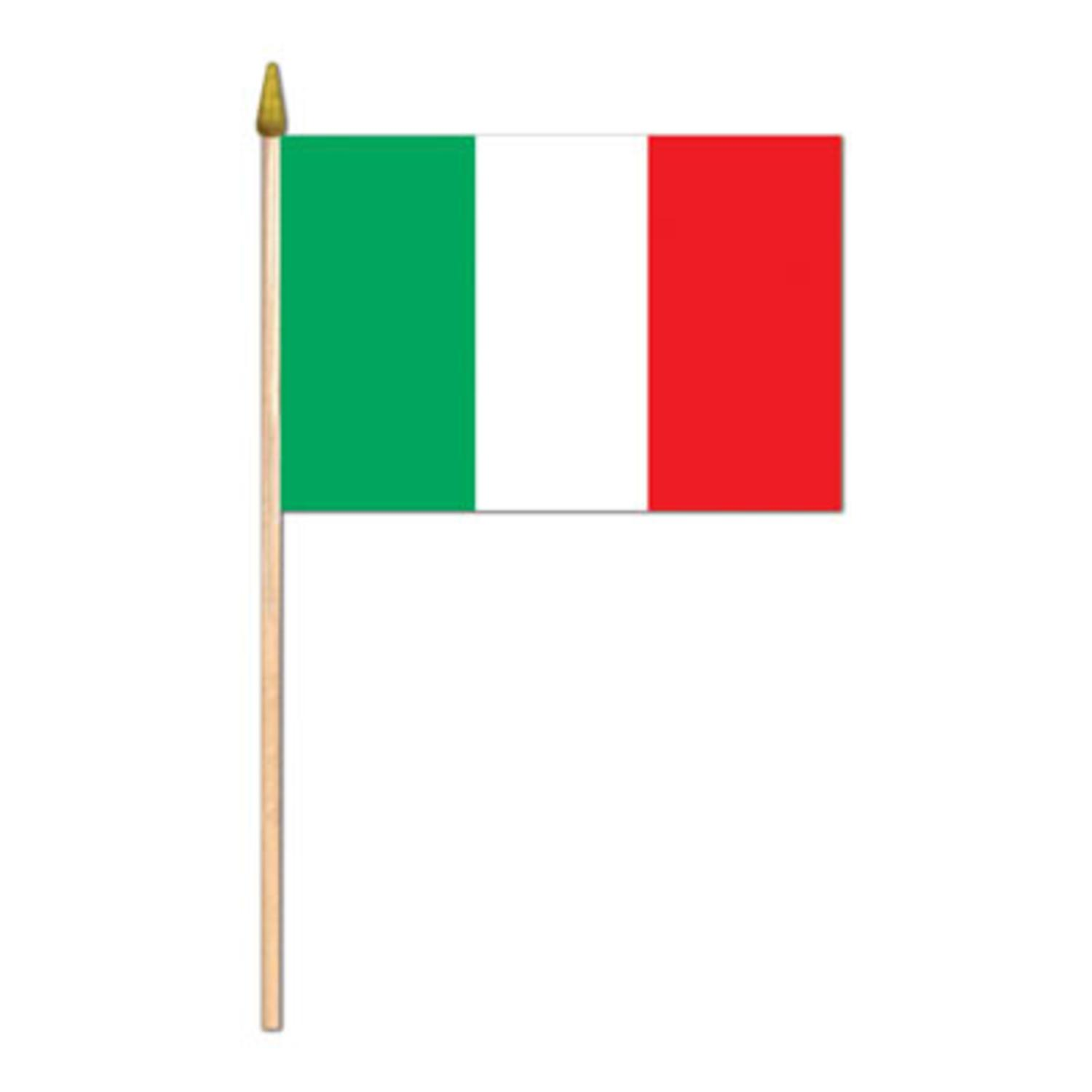 Pack of 12 Decorative Italian Flags on Gold Spear-Tipped Wooden Sticks... by Party Central