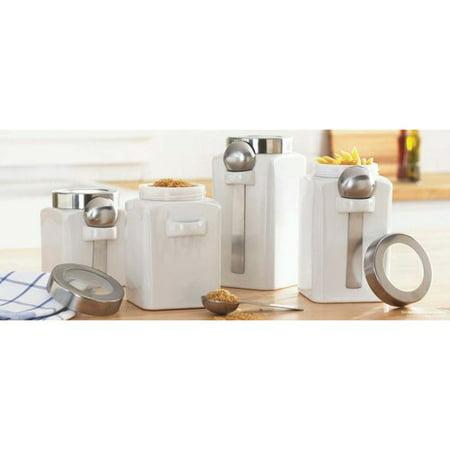 Mainstays 4pc White Ceramic Canister Set Walmartcom
