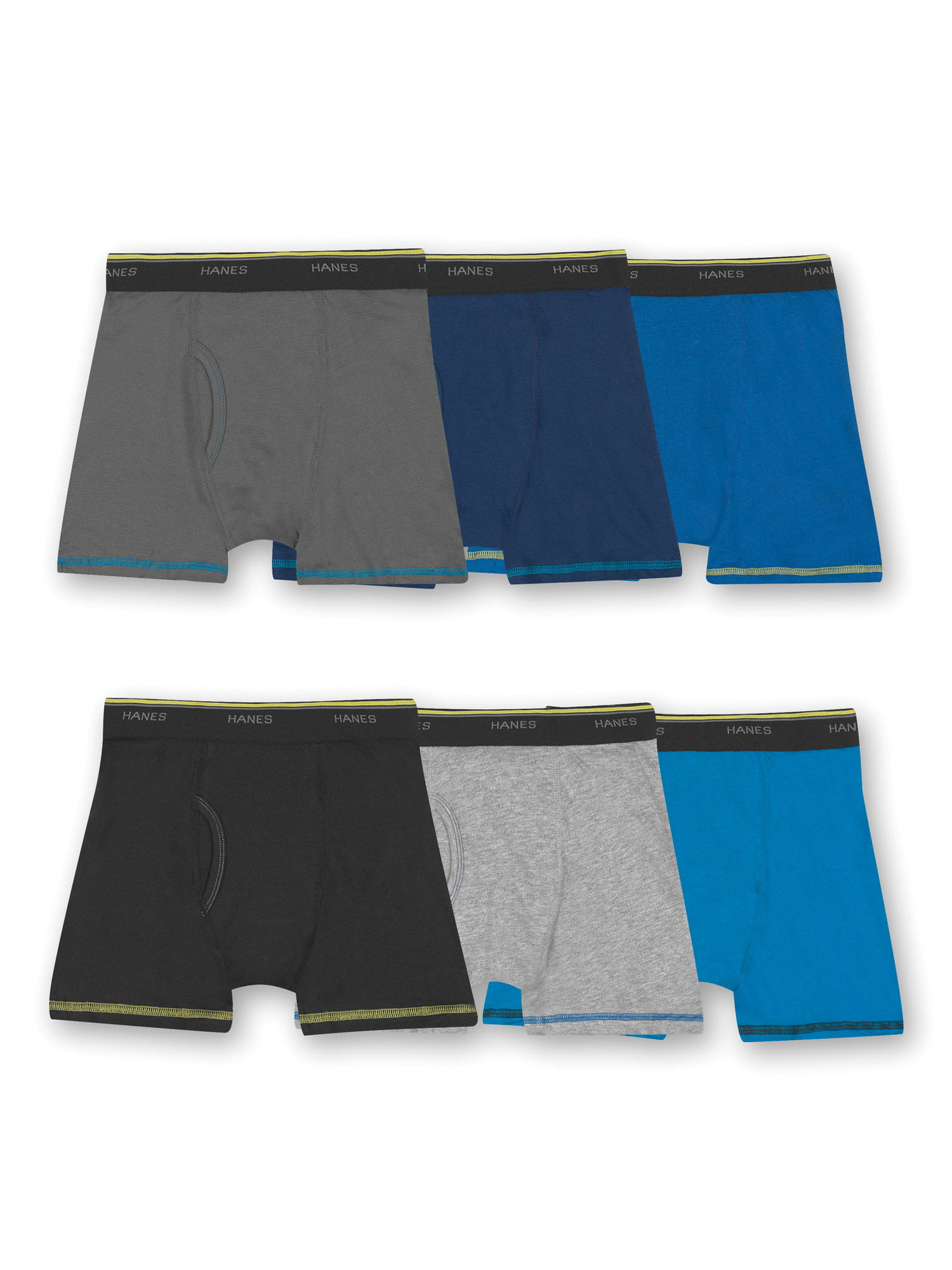 Hanes Cool Comfort Tagless Boy's Boxer Briefs, 6 Pack, Small