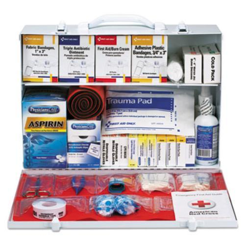 """First Aid Only Class B Plus 446-pc First Aid Station - 446 X Piece[s] For 75 X Individual[s] - 11"""" Height X 15.3"""" Width X 4.5"""" Depth - Steel Case - 1 Each (90573)"""