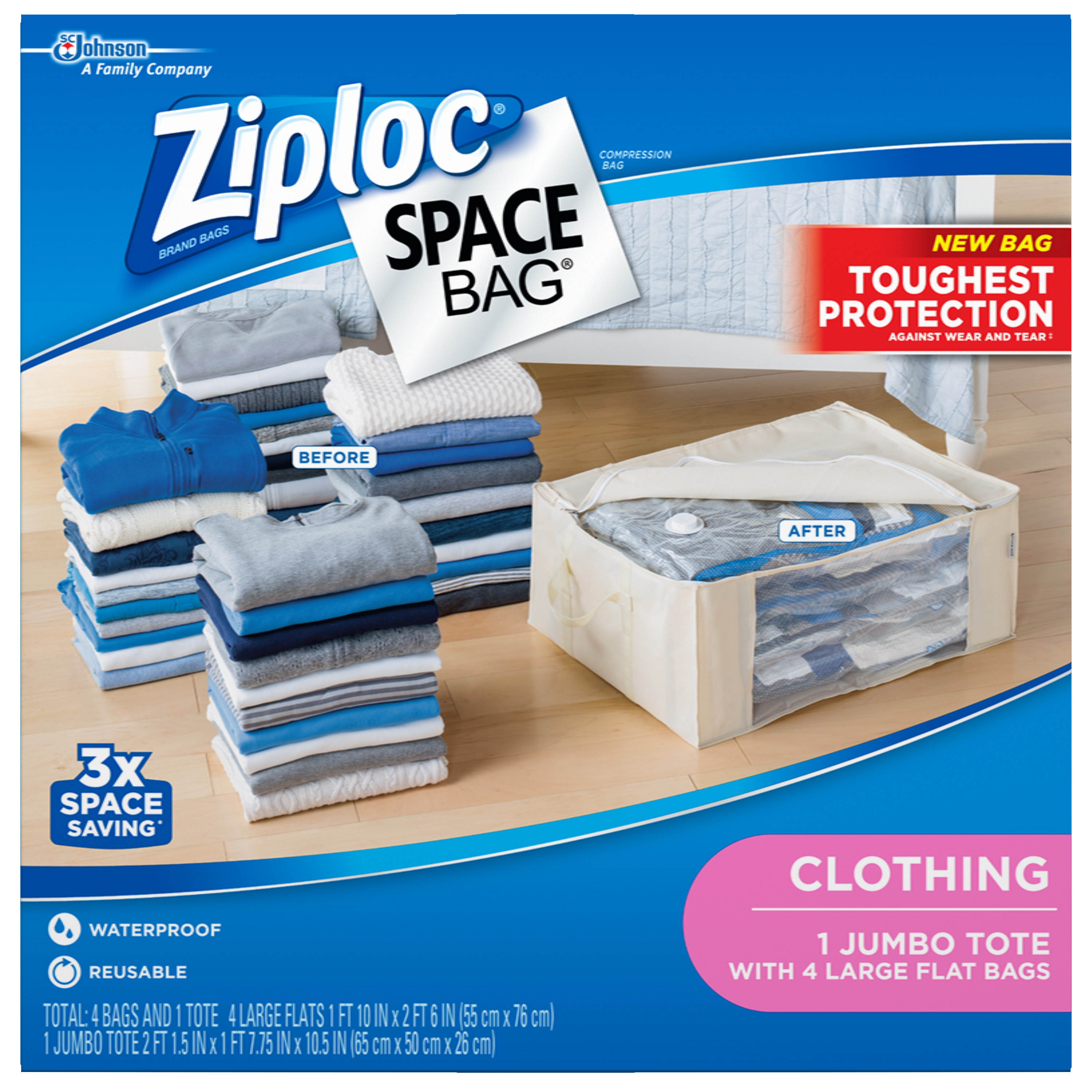 Ziploc Spacebag Organizer Set-Clear 5 count (1 Jumbo Tote, 4 Large Flat Bags)