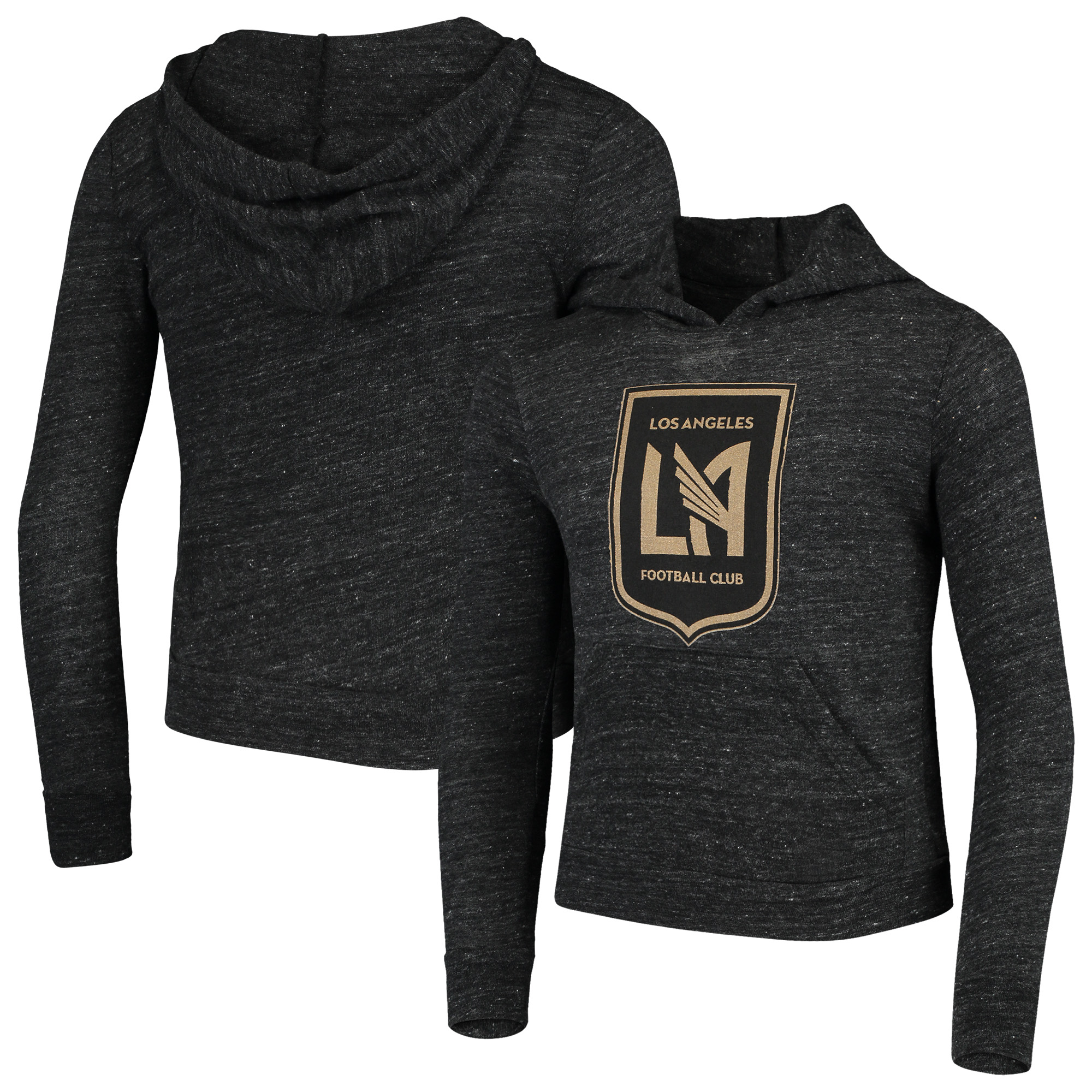 LAFC 5th & Ocean by New Era Girls Youth Tri-Blend Pullover Hoodie - Heathered Black