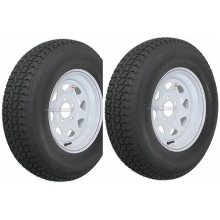 2-Pack Trailer Tire On Rim ST205/75D14 205/75 D 14 in. LRC 5 Hole White