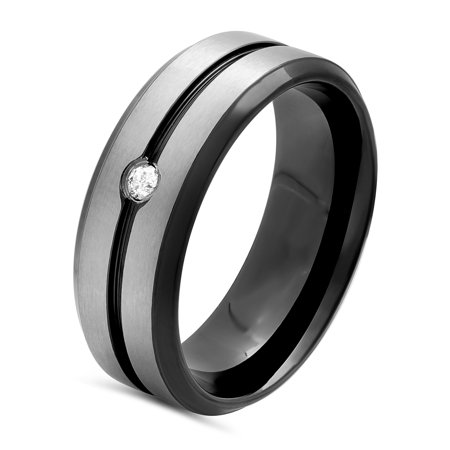 Men's Stainless Steel 8MM Diamond Accent Two-Tone Grooved Wedding Band - Mens Ring Black Hills Diamond Mens Bands