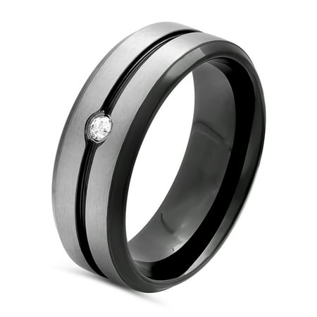 Men's Stainless Steel 8MM Diamond Accent Two-Tone Grooved Wedding Band - Mens Ring