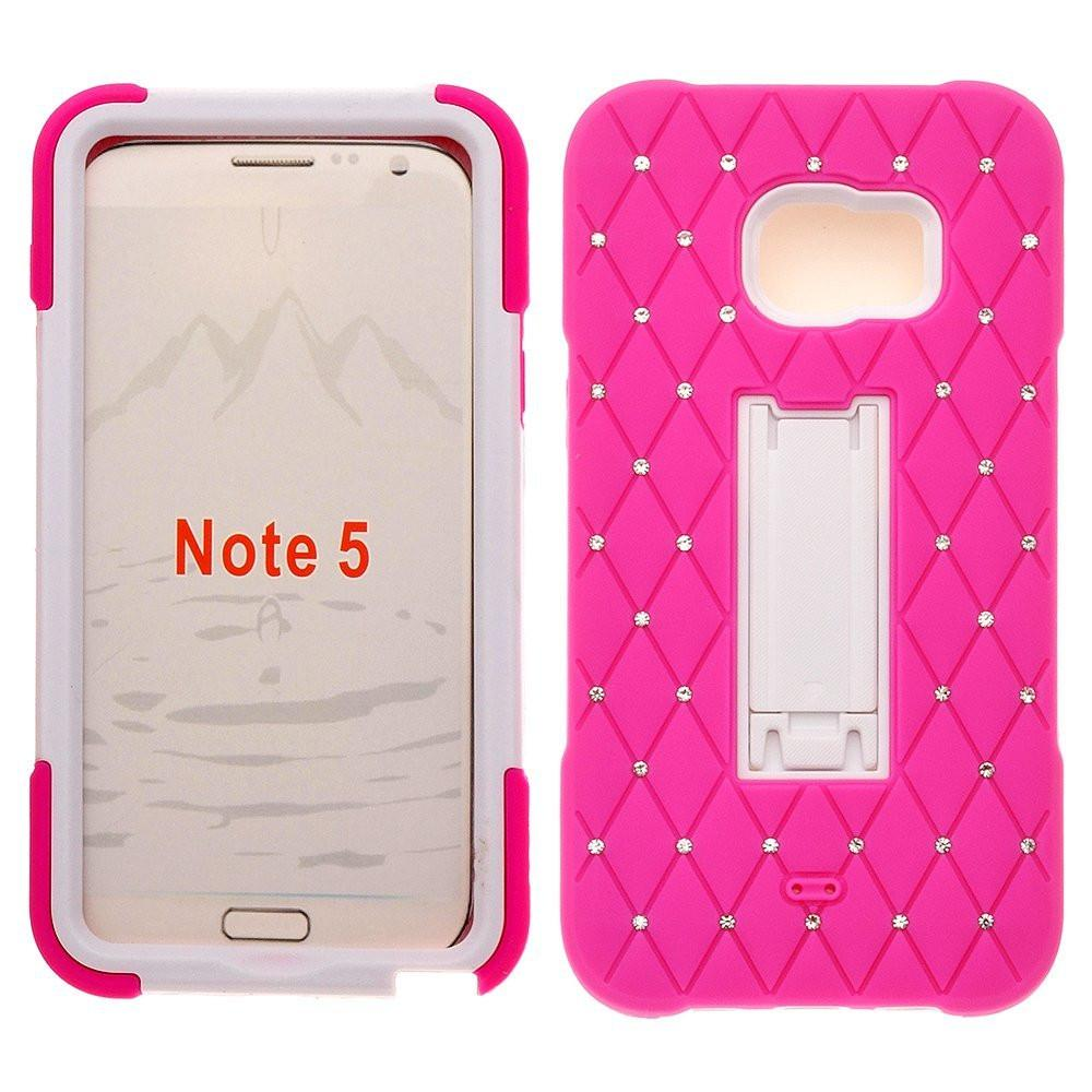 Rugged Kickstand Hybrid [Dual Layer] Diamond Crystal CaseGalaxy S6 Edge Plus / Galaxy S6 Edge+ Case - Hot Pink/White