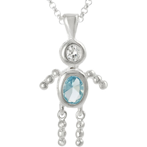 Brinley Co. Boy Birthstone Sterling Silver Pendant, 18""