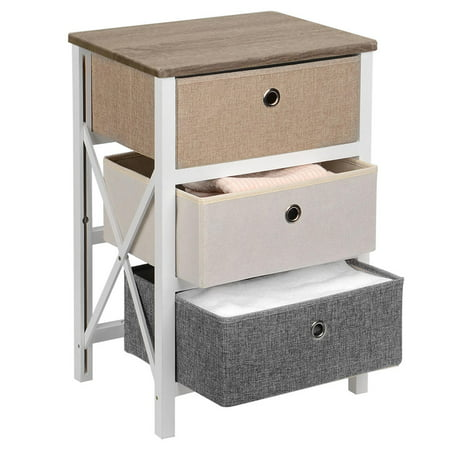 SortWise MDF End Table/Night Stand with Storage Bins, Removeable Storage Drawer Bedroom Organizer - image 7 of 10