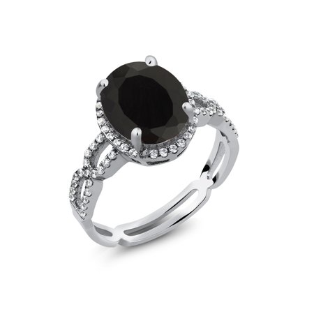 3.55 Ct Oval Black Onyx White Created Sapphire 925 Sterling Silver Ring