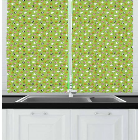 Cattle Curtains 2 Panels Set, Green Background with Cartoon Cattle Animals  as Sheep Pig Chicken Rooster and Cow, Window Drapes for Living Room ...