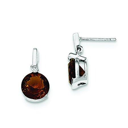 925 Sterling Silver 16 Mm Polished Smokey Glass Stone Dangle Post Stud Earrings