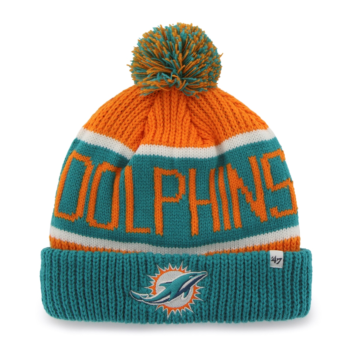 Miami Dolphins 47 Brand NFL Calgary Cuffed Knit Hat Teal Cuff by 47 Brand