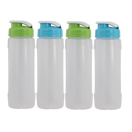 Rubbermaid Refill Reuse Chug Water Bottles, Flip-Top Lid, BPA-Free, Contoured Form for Easy Grip, 20oz, 2-Green & 2-Blue (4 Pack)