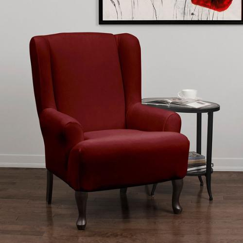 Stretch Velvet 1-piece Form Fit Wing Chair Slipcover Crimson