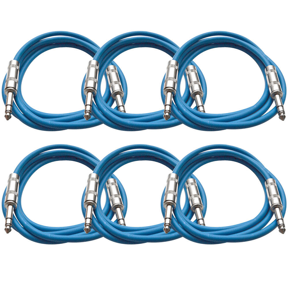 "Seismic Audio  New 6 PACK Blue 1/4"" TRS 6' Patch Cables Blue - SATRX-6Blue6"