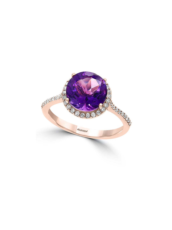 Eclipse 14K Rose Gold, Diamond & Amethyst Ring