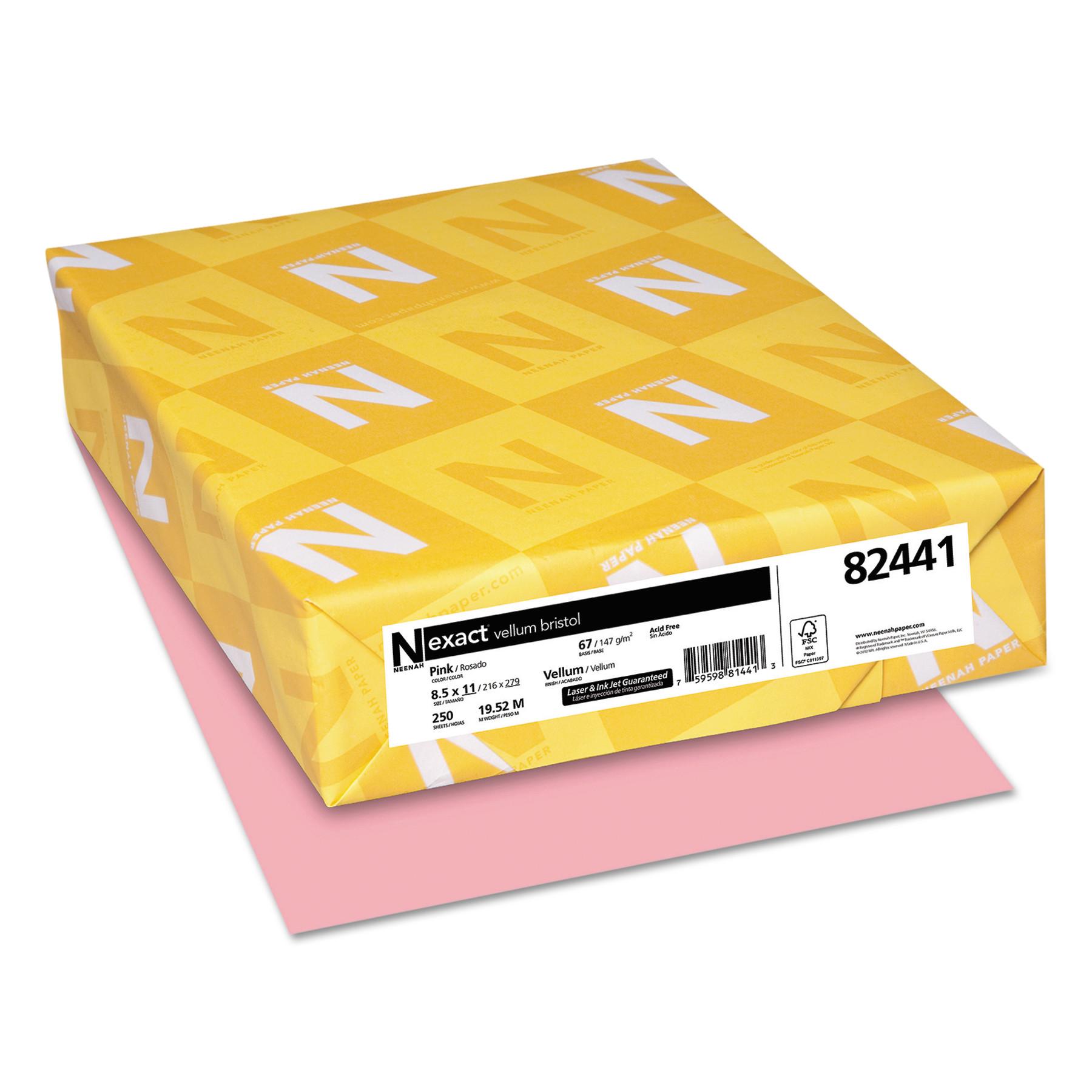 Neenah Paper Exact Vellum Bristol Cover Stock, 67lb, 8 1/2 x 11, Pink, 250 Sheets -WAU82441