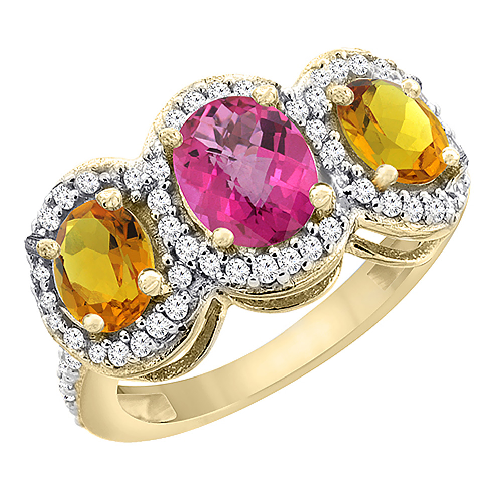 14K Yellow Gold Natural Pink Sapphire & Citrine 3-Stone Ring Oval Diamond Accent, size 5.5 by Gabriella Gold