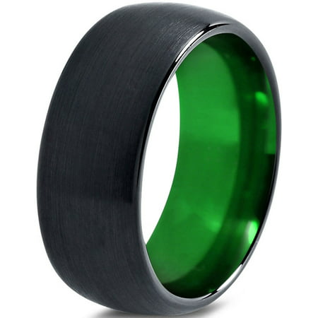 Tungsten Wedding Band Ring 10mm for Men Women Green Black Domed Brushed Polished Lifetime Guarantee (Glow In The Dark Wedding Rings)