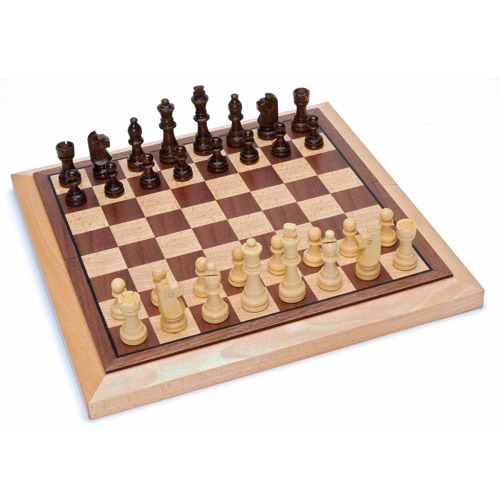 Classic Folding Chess Set, Wood Board, 10.75""